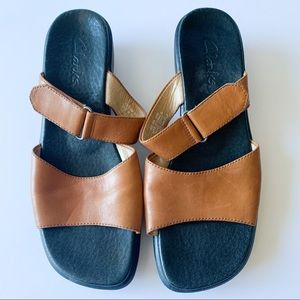 CLARKS Brown Leather Small Wedge Sandal